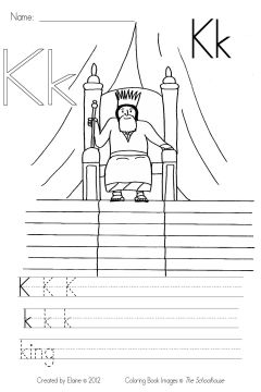 K Is For King Coloring Page The coloring book image was