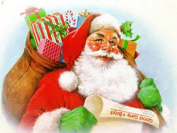 Santa with list and bag