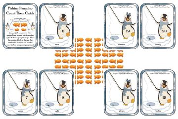 FishingPenguinsCountTheirCatch 0-20mats byElaine SAMPLE